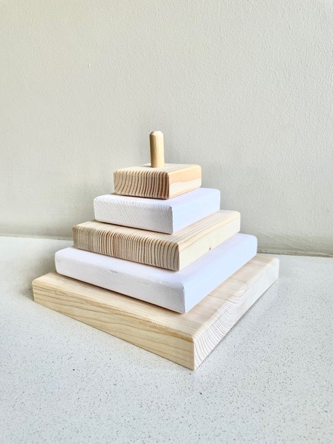 Wooden Stacker - White